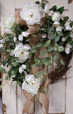 Front door wreath, peony wreath, tulips and Greenery Wreath, tulips, Everyday Burlap Wreath, Door Wreath, Front Door Wreath by FarmHouseFloraLs on Etsy