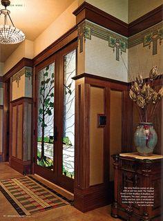 Arts & Crafts Wallpapers, Art glass door