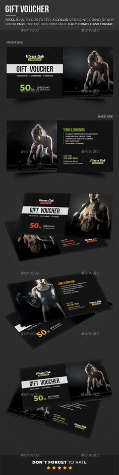 Gift Voucher Template PSD #design Download    graphicriver - fitness gift certificate template