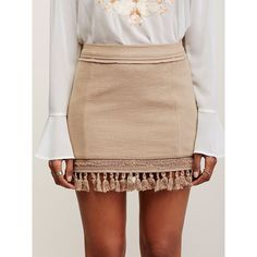 Hot Trot Mini Skirt (5.110 RUB) ❤ liked on Polyvore featuring skirts, mini skirts, tassel skirt, short mini skirts, free people skirt, cotton mini skirt and beige skirt