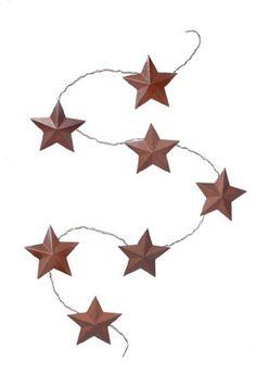 Rustic 2.5 inch Star 3D Garland 36 inch