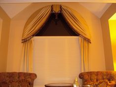 covering arch windows in bedroom | Arched window treatment