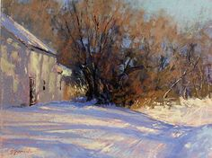 """Evening Shadows Out Back by Barbara Jaenicke Pastel ~ 11"""" x 14"""""""