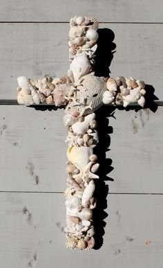 Wooden Seashell Cross/Beach Wedding Cross by My Honeypickles