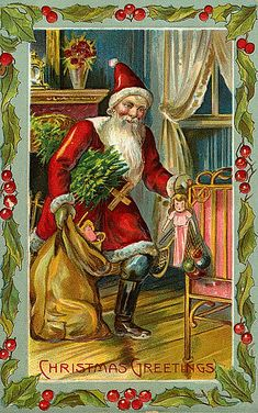 https://flic.kr/p/7iypXa | Vintage Santa Christmas Postcard | Free to use in your Art only, not to Sale on a Collage Sheet or a CD