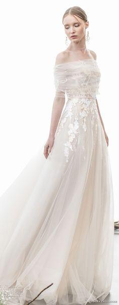 mira zwillinger 2018 bridal off the shoulder sweetheart neckline heavily embellished bodice romantic champagne color soft a  line wedding dress chapel train (mila) mv