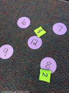 Multiplication Practice using Sit Spots - Lessons With Laughter+ use bean bags to add 2 numbers/subtract
