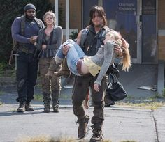 Daryl and Carol are both so sad. #RIPBeth   I think the writers made a huge, huge mistake. There was no reason to build her up and show just how strong she is, just to kill her off. Maybe she was doing the right thing by stabbing Dawn, but why was Dawn's gun out of its holster?