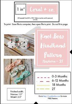 Knotted Bow Headband Pattern and Tutorial. Free Pattern made by Coral and Co. How to sew and adorable knot style bow headband made from knit fabric for baby and toddler. Sizes Newborn - 2T-01