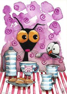ACEO Original watercolor Folk Art painting black cat crow tea biscuits pig cup