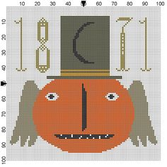 Halloween and Fall Freebie Cross Stitch Chart from Lori Brechlin, Notforgotten Farm ~ This free primitive pumpkin pattern is cute for autumn. Her beautiful blog features her needlework offerings, country life, and farmhouse design inspiration.