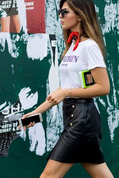 Street style from SS17 New York Fashion Week. Your style takeout? Logos, like…