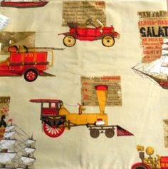 Indian Head Inc Cotton Fabric Vtg Transportation Cars Fire Engine Trains 4 yds #IndianHeadInc
