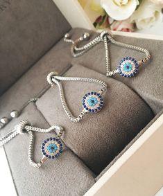 Evil eye bracelet, silver evil eye bracelet, tiny evil eye beads, evil eye adjustable bracelet, blue evil eye bracelet, evil eye charm #jewelry #bracelet #silver #evileye #blue #zircon #stainlesssteel #silvereyecharm #evileyebracelet #silverbracelet