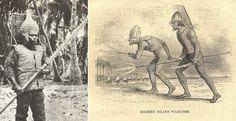 """Воины островов Кирибати в броне из кожи ската, шлемах из кожи рыбы-ежа и """"мечами"""" из акульих зубов"""
