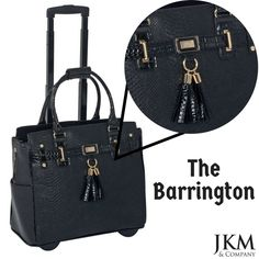 2db6c43606d The Barrington is our newest, sleek all black design. Black faux python  with black patent style faux alligator trim. Gold tone hardware plus a  lovely etched ...