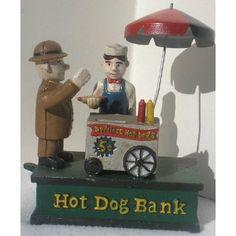Cast Iron Hot Dog Vendor Mechanical Bank