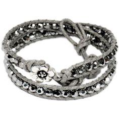 Grey Leather Silver Crystal Two Wrap Bracelet