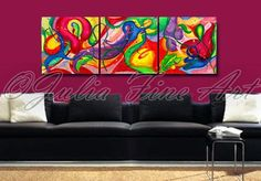 48''ORIGINAL Floral TRIPTYCH AbstractCanvasJuliaFineArt,Three Part Modern Wall Decor,Colorful,Flowers,Surreal Floral Painting by Julia Apostolova on Etsy