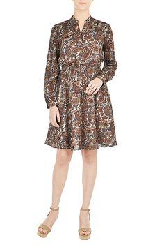 Floral Paisley Print Blouson Shirtdress