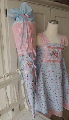 Einschulungskleid & Schultüte Einhorn Gr. 122/128, genäht aus Baumwollstoffen. Stickdatei: Zwergenschön
