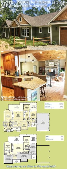 Architectural Designs Rustic Ranch House Plan 29830RL was built by our client in North Carolina with a front-facing garage (instead of a side-load). Ready when you are. Where do YOU want to build?