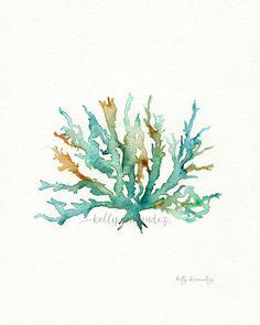 Coral de mar Nº 2 / trullo / Aqua / amarillo ocre por kellybermudez