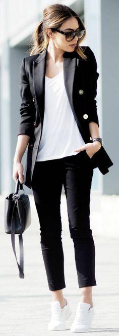 Black trouser suit + plain white tee + sleek and stylish spring vibe + breaking…