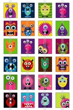 Monsters - one inch digital sheet of scrabble size x inches) images for scrabble tiles by by lea Projects For Kids, Art Projects, Crafts For Kids, Auction Projects, Classe D'art, Monster Art, Monster Crafts, Arts Ed, Little Monsters