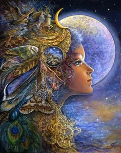 moon goddess Fantasy Paintings by British artist Josephine Wall. From childhood Josephine has had a passion for light and colour, fantasy and visual story Josephine Wall, Art And Illustration, Fantasy Kunst, Fantasy Art, Fantasy Paintings, Wall Paintings, Wow Art, Moon Goddess, Goddess Art