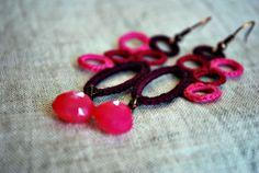 Burgundy Magenta and Hot Pink Crochet Earrings by LavenderField, $29.00