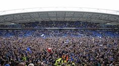 This is what promotion means … with a 2-1 win over Wigan overnight, Seagulls fans pour on to the grounds of their home stadium after Brighton and Hove Albion confirmed their promotion to the top flight English competition for the first time in 34 years, with three games to spare. Brighton will be the 47th team to take part in the English Premier League 18.04.17