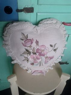 Love heart cushion. Embroidered pillow. Pink flowers embroidery. Lace ruffle. Oatmeal cream off white linen.. $20.00, via Etsy.