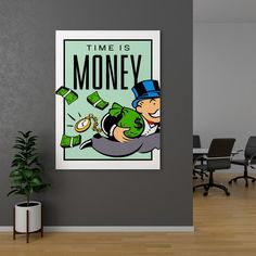 Time is money Canvas Wall Art, Modern Painting, Wall Art Canvas Painting, Poster Prints, Pop Art Canvas, Mini Canvas Art, Canvas Art Painting, Canvas Painting, Cute Canvas Paintings