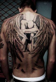 Awesome angel back piece tattoo.
