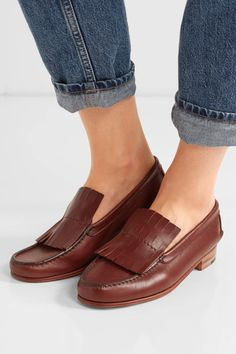 Heel measures approximately 20mm/ 1 inch Brown leather Slip on ImportedSmall to size. See Size & Fit notes.