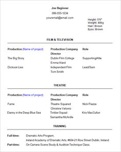 Acting Resume Beginner Simple Printable Functional Resume Template  A Successful Resume .