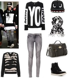 Outfit inspired by SHINee's Jonghyun, Airport Fashion More Outfit on I Dress Kpop Get The Look : Sweater Yo Sweater Jeans Cap Scarf Bag Sneakers