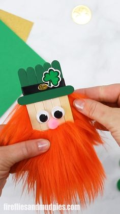 In this easy step-by-step tutorial, learn how to make a fun popsicle stick leprechaun craft for St. Patty's Day. This bushy-bearded leprechaun is the perfect St. Patrick's Day craft for kids of all ages! St Patricks Day Crafts For Kids, St Patrick's Day Crafts, Rainy Day Crafts, Holiday Crafts, Popsicle Stick Crafts, Popsicle Sticks, Craft Stick Crafts, Fun Crafts, Summer Crafts