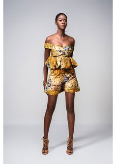 "Paris based design label Guirazzi presents its ""Chameleon"" collection. For the collection, fabric was sourced from Senegal African Inspired Clothing, African Print Fashion, Africa Fashion, Fashion Prints, African Prints, African Attire, African Wear, African Women, African Dress"