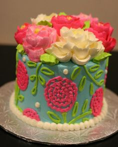 buttercream cake.  Love bright colors and texture.