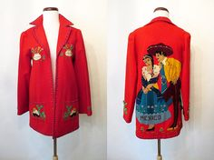 Amazing 1940's Lipstick Red Mexican Tourist Jacket by wearitagain