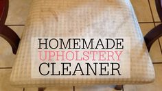 Homemade Upholstery Cleaner Get the stains out of your furniture with this simple DIY Upholstery Cleaner. It only takes two ingredients and is great at getting out grass stains, dirt, and food stains. Carpet Cleaning Machines, House Cleaning Tips, Diy Cleaning Products, Cleaning Solutions, Cleaning Hacks, Cleaning Checklist, Cleaning Recipes, Carpet Cleaners, Diy Cleaners