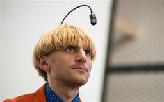 Colour blind artist unveils world's first 'eyeborg' device
