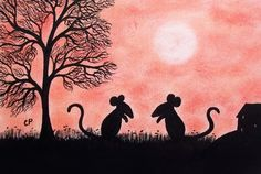 #Mouse #Card, #Children Card, #Mice #Silhouette Card, #Blank Mouse Card, #Kids Art Card £2.20