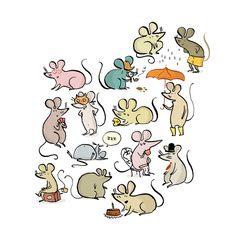 | Des p'tites souris pour un programme de cinéma pour enfants que j'illustre chaque année avec plaisir. Et sinon, mes araignées o...