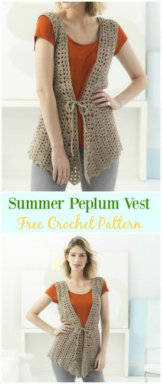Crochet Peplum Vest Free Pattern - #Crochet; Women #Vest; Free Patterns