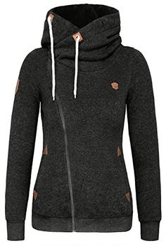 DJT Womens Full Zip-up Hoodie Sweatshirt Top Small Dark G…