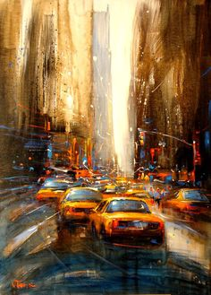 "skeletales: "" Born in Laos and now currently based in France, artist Van Tame is a painter inspired by dynamic and energetic city streets like New York and London. Using animated strokes, the artist. New York Painting, City Painting, Illustration Arte, Illustrations, City Art, Love Art, Amazing Art, Awesome, Modern Art"