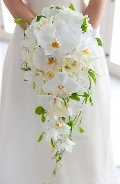 54 Cascade Wedding Bouquets For Charming Brides- 54 Cascade Wedding Bouquets For Charming Brides Cascade wedding bouquets, spring wedding bouquet, greenery wedding bouquet - Orchid Bouquet Wedding, Cascading Wedding Bouquets, Wedding Flower Guide, Summer Wedding Bouquets, Beach Wedding Flowers, Cascade Bouquet, Fall Bouquets, Bride Bouquets, Bridal Flowers